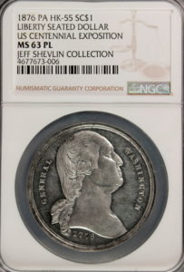 HK-55 1876 Centennial Washington Large Bust / Seated Liberty SCD