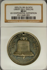 HK-26 1876 Centennial Liberty Bell Rounded 6 / Independence Hall SCD