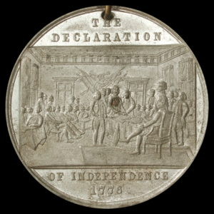 HK-74 1876 Centennail Declaration of Independence three seated one standing / Commemoration SCD