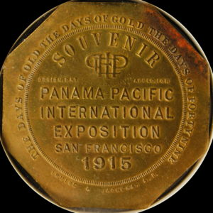 HK-424 1915 Panama-Pacific International Exposition Design.Pat Left Souvenir Slug SCD
