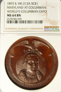 HK-213 A 1893 Columbian Exposition Maryland SCD