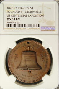 HK-25 1876 Centennial Liberty Bell Rounded 6 / Independence Hall SCD