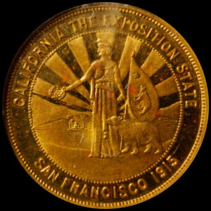 HK-415A 1915 Panama-Pacific International Exposition Standing Minerva with Rays / Tower of Jewels SCD