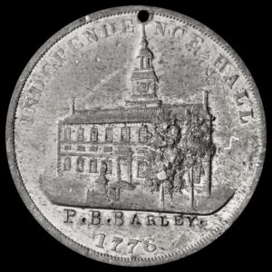 HK-29 1876 Centennial Small Liberty Bell With Star / Independence Hall With Trees SCD with name engraved