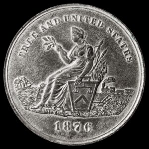 HK-59 1876 Centennial Seated Liberty / American Colonies SCD