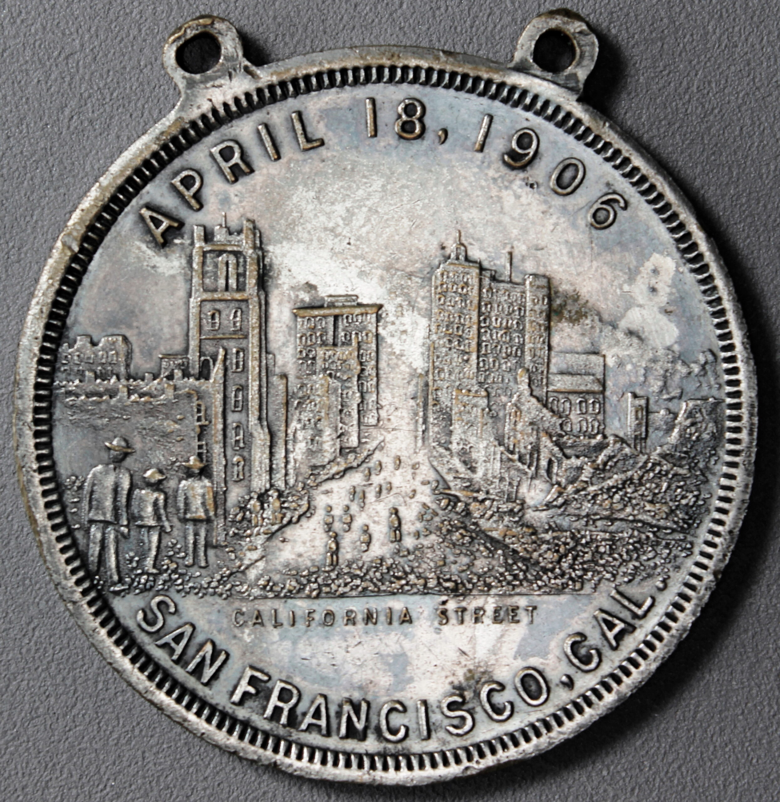 HK-340A 1906 San Francisco Disaster & Fire SCD – Silver Plated – variety not listed in H&K